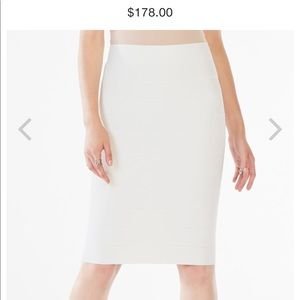 BCBG Leger bandage high waisted power skirt white